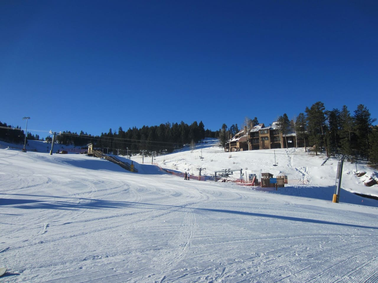 View of ski run condo from the express chairlift.