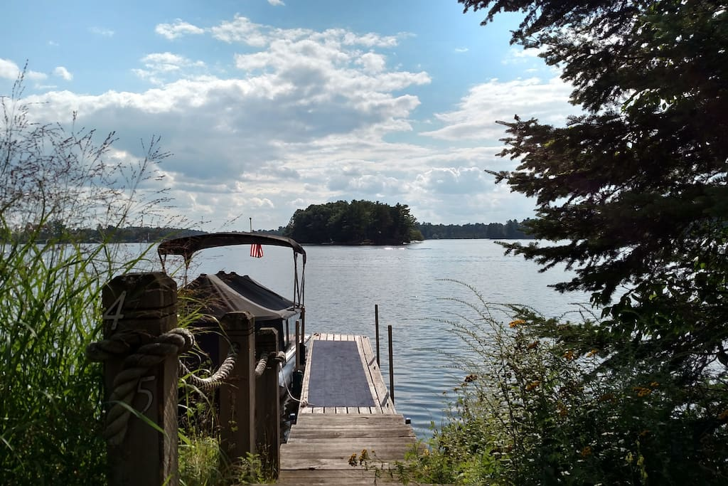 Pier slip on Mincoqua Lake Island views