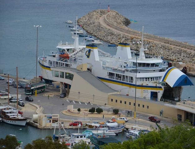 The ferry at Mgarr upon arrival from Cirkewwa Malta.