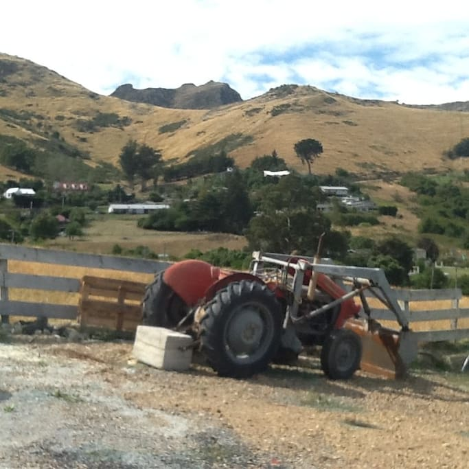 Manaia's Trevor the Tractor with surrounding hill views and farm paddocks which house the sheep and chickens