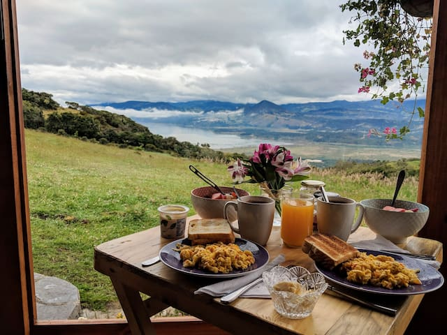 You couldn't ask for a better way to start the day! A hearty breakfast with a view!