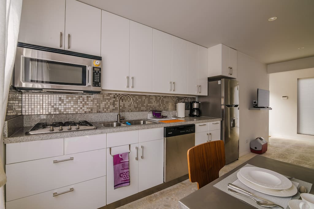 Modern kitchen with gas stove and all appliances