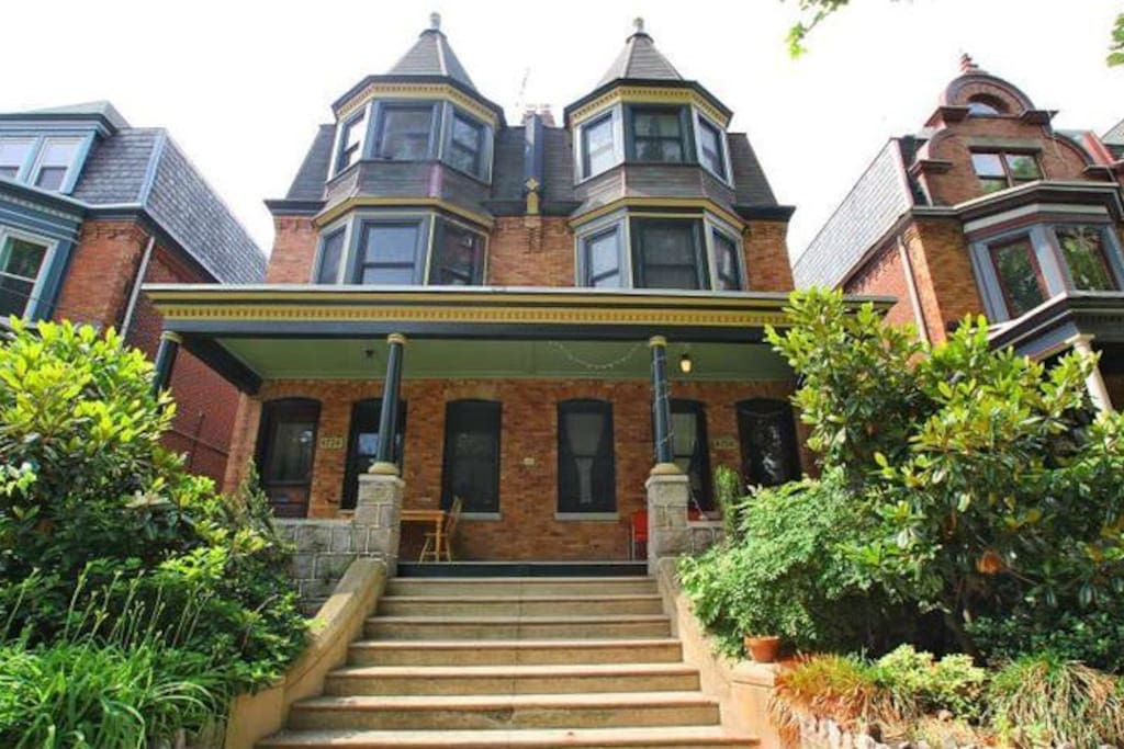 Front of the twin Queen Anne-style Victorian
