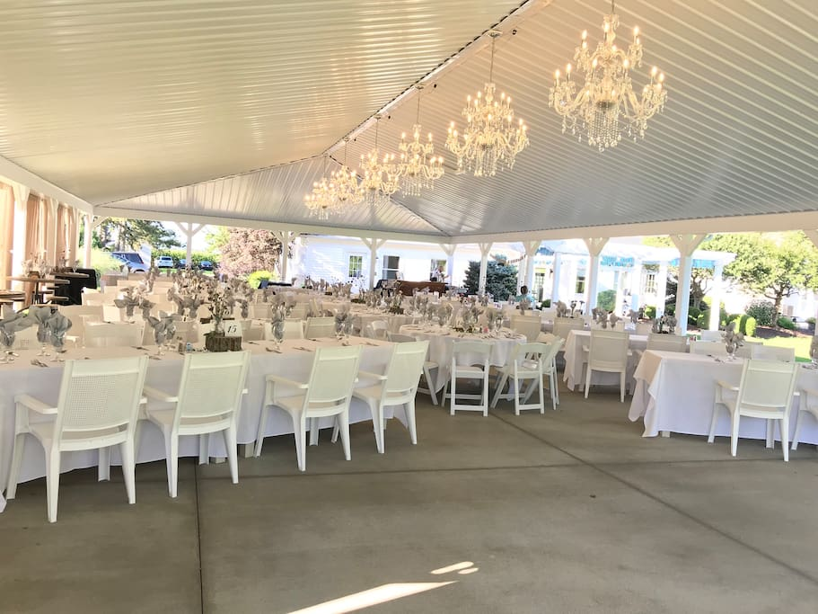 The patio at Millsite. Our full service wedding coordinator will assist in building the desired package to suit each brides needs & desires. Catering & wedding services done exclusively by our experienced family business Colonnade Banquet facility.