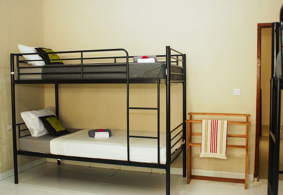 Mixed dormitory room with 4 bunk beds plus additional 2 beds available. Breakfast included. Located closely to all the best surfing spots in south Bali.