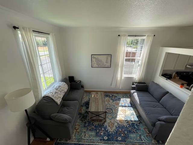 Bright and sunny living room with sofa sleeper.