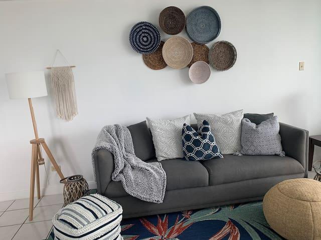 Bohemian style living room area