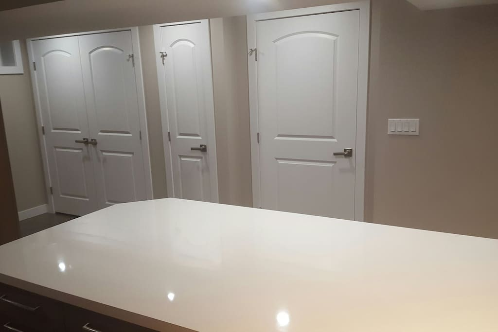 Entry closet, pantry and entrance door