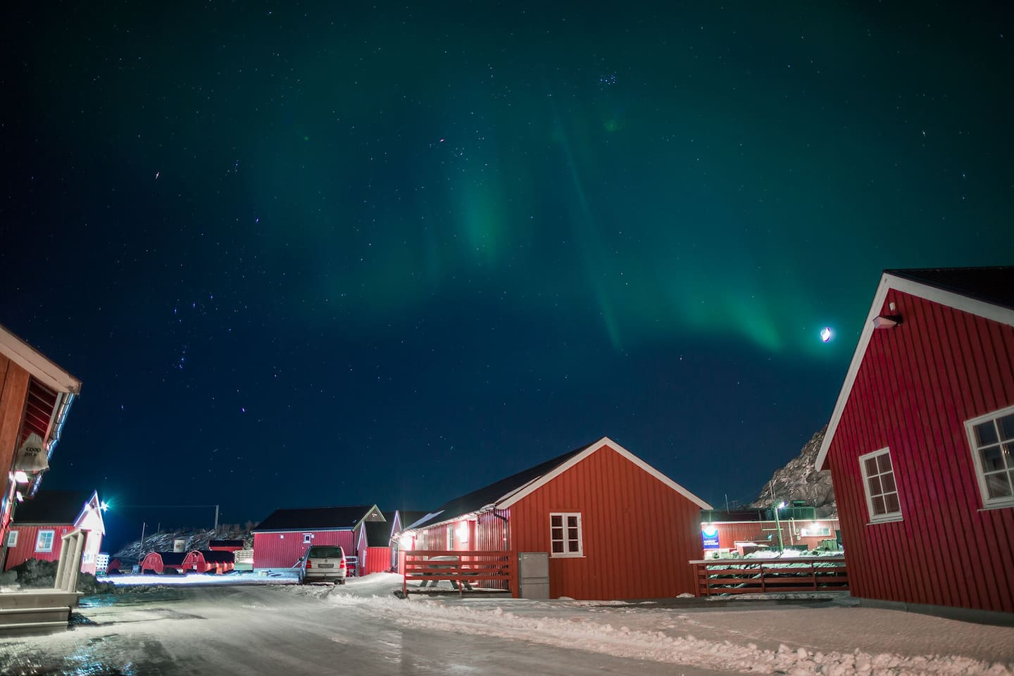 northern lights over the cabin