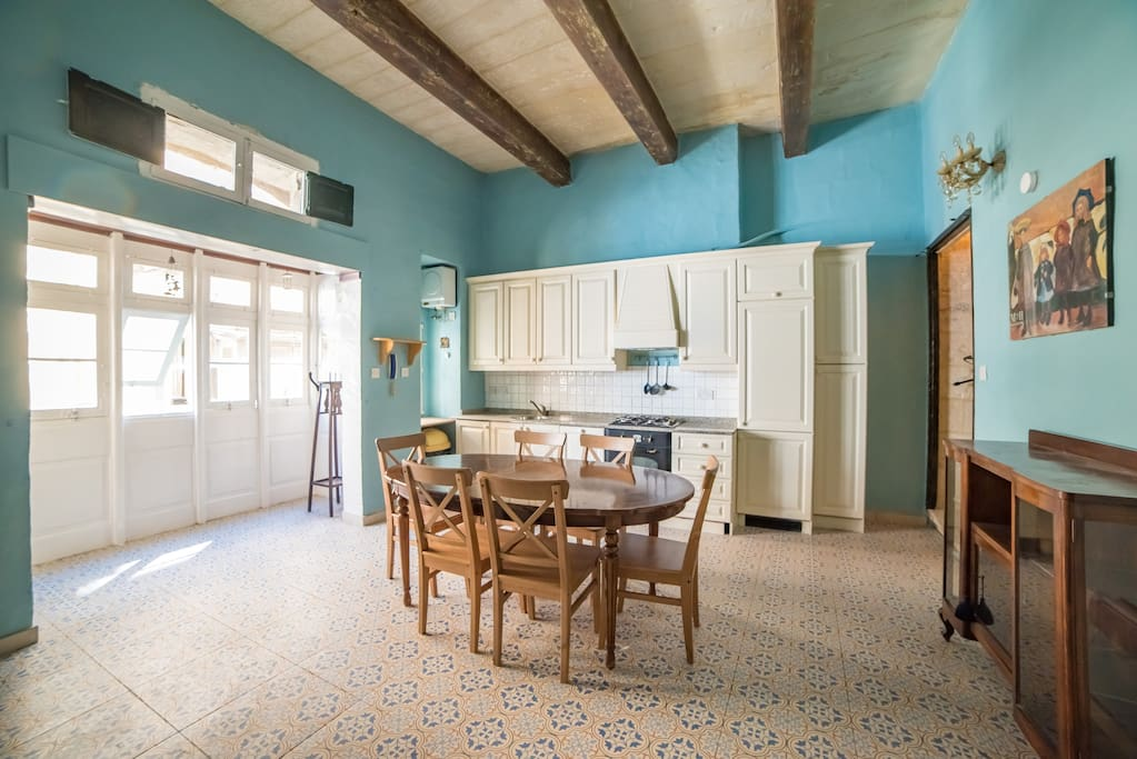 Kitchen on the second floor with the traditional Maltese balcony