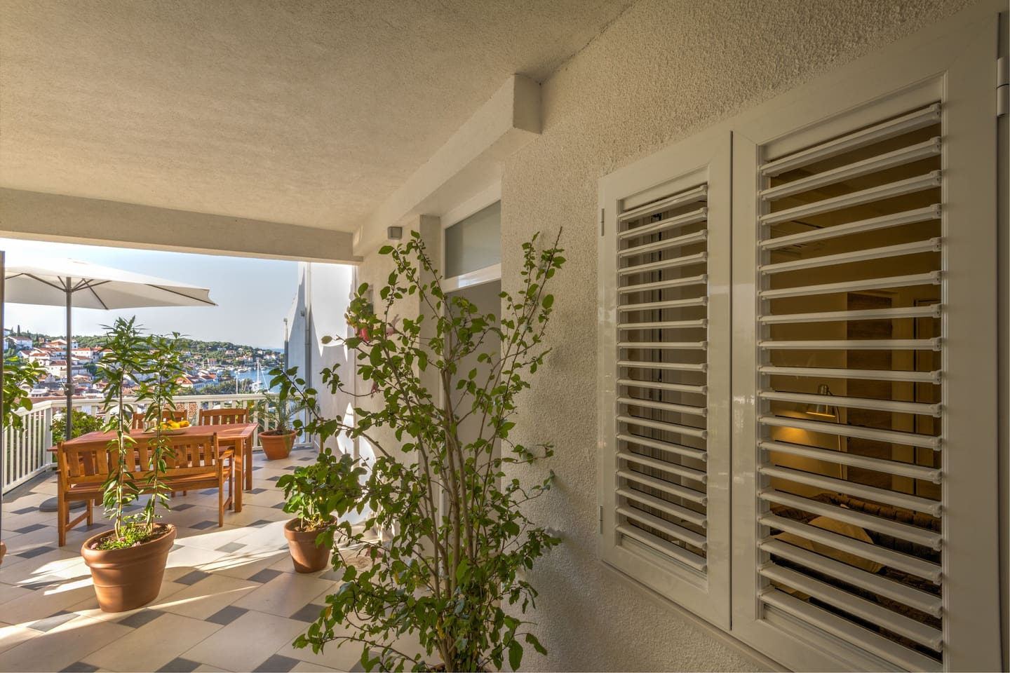 Double or twin room has external terrace just in the front of the room