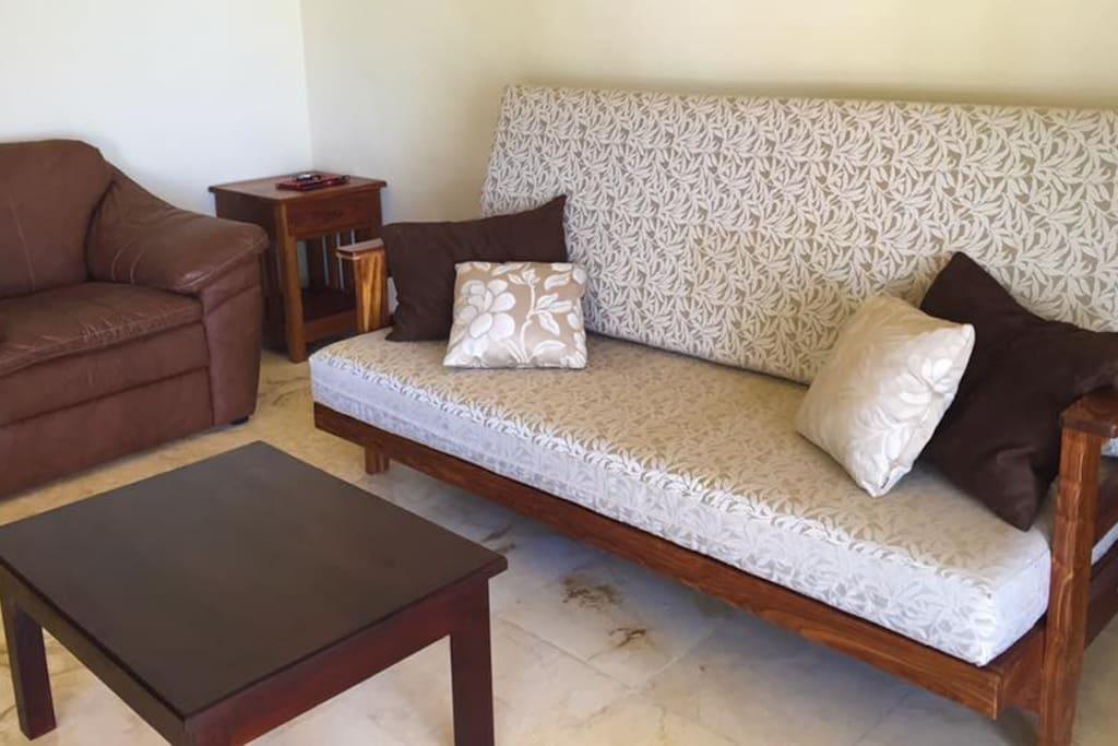 Placentera y elegante sala con sofá-cama.