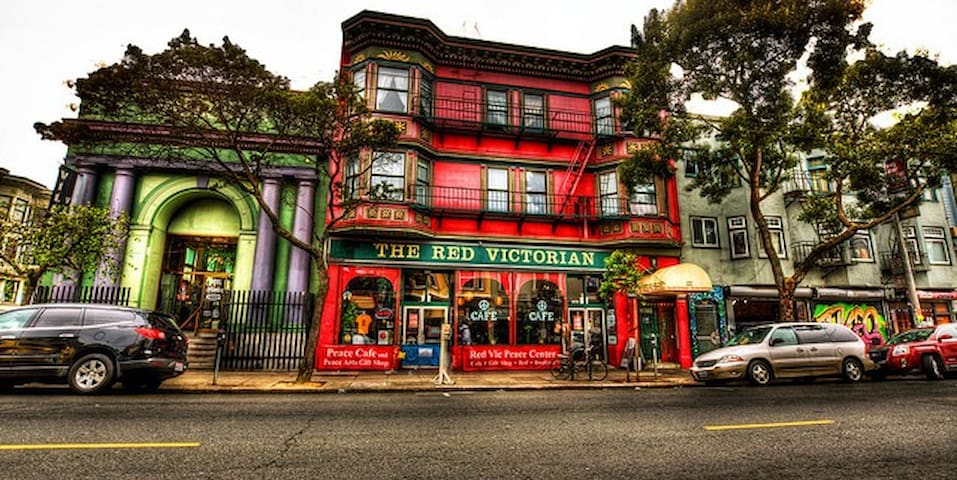 The historic facade of the Red Victorian