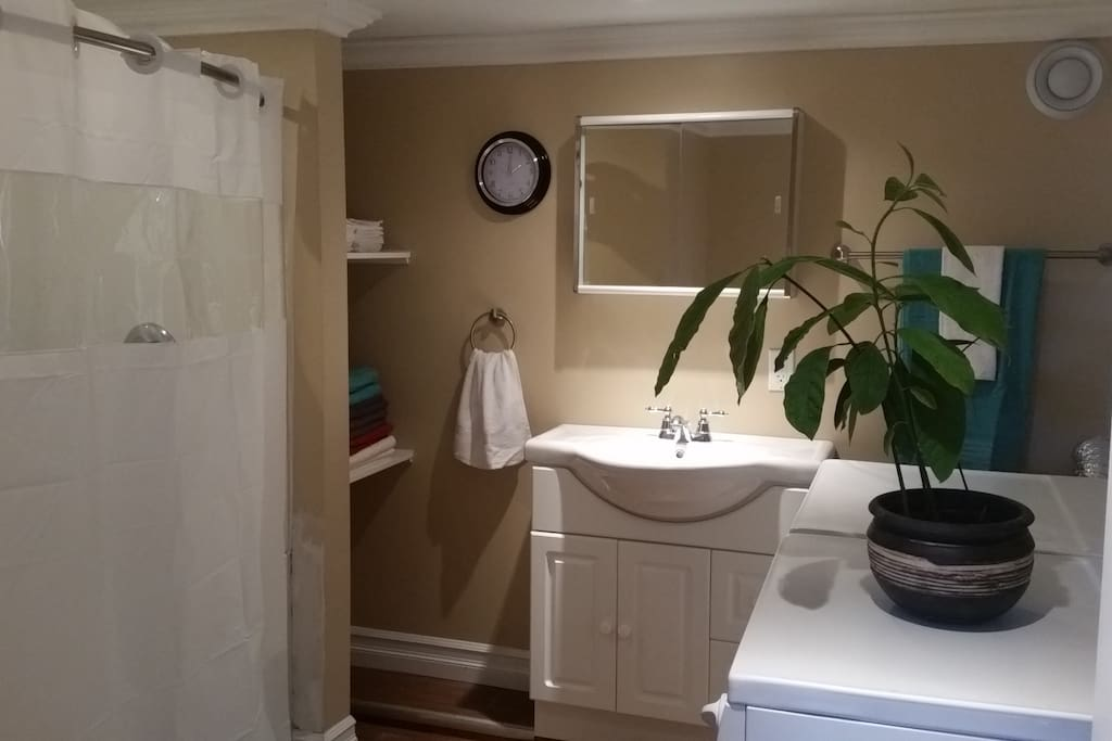 Large bathroom with washer and dryer.