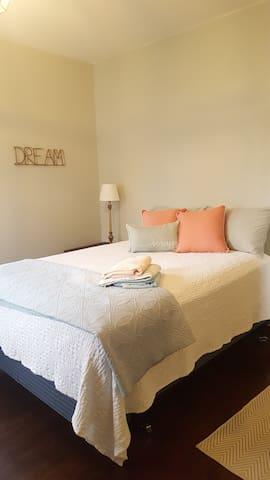Queen bed in bedroom #1