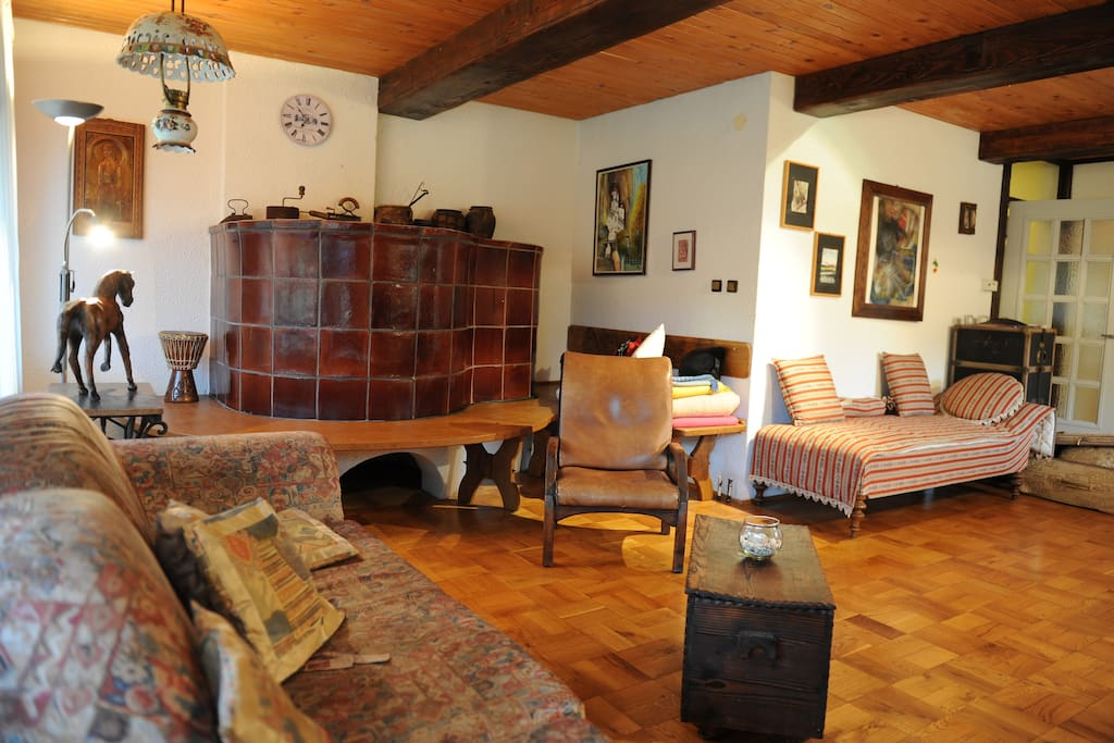 Living room area with a traditional fire-wood furnace