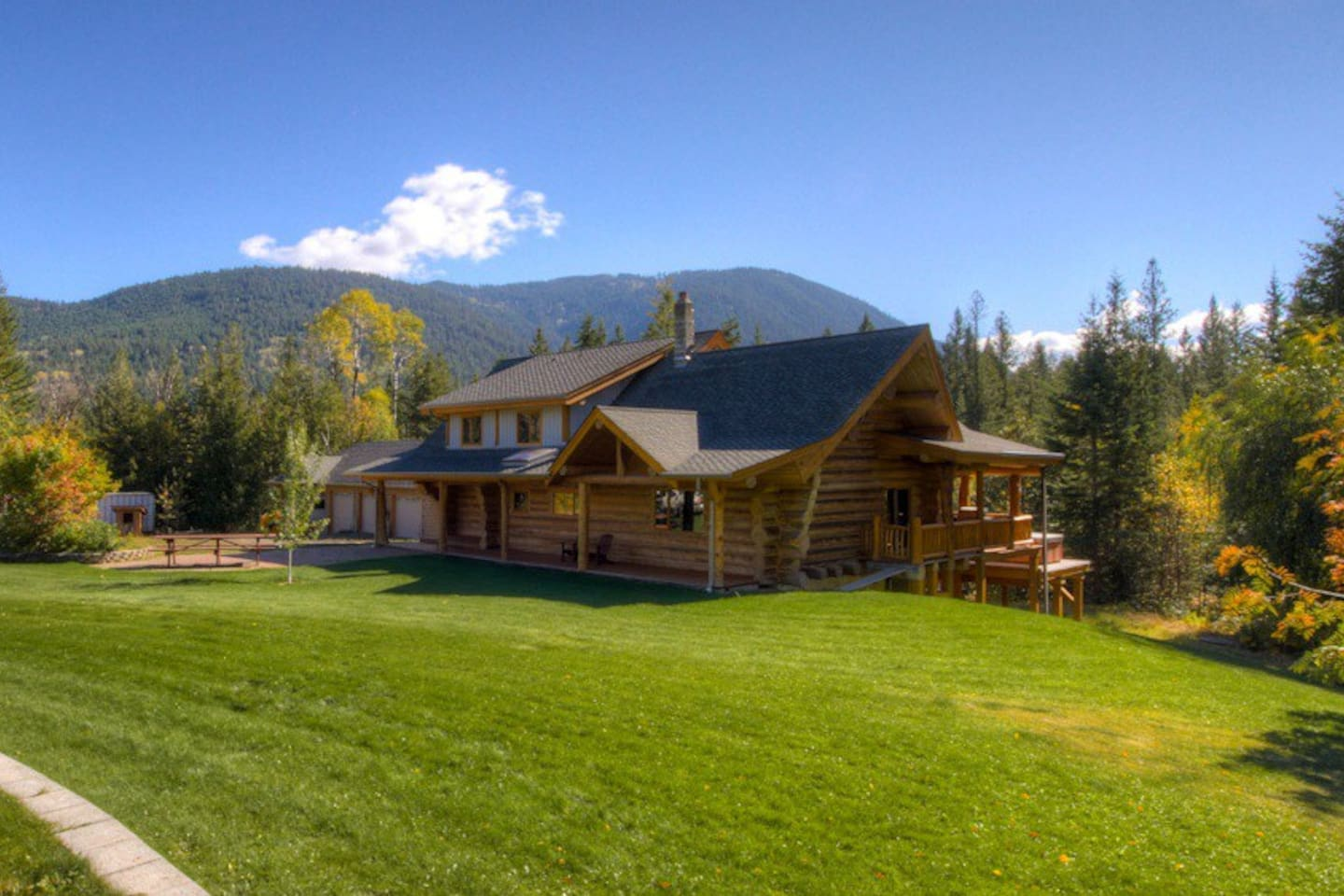 Our Log House was custom built with trees from the property