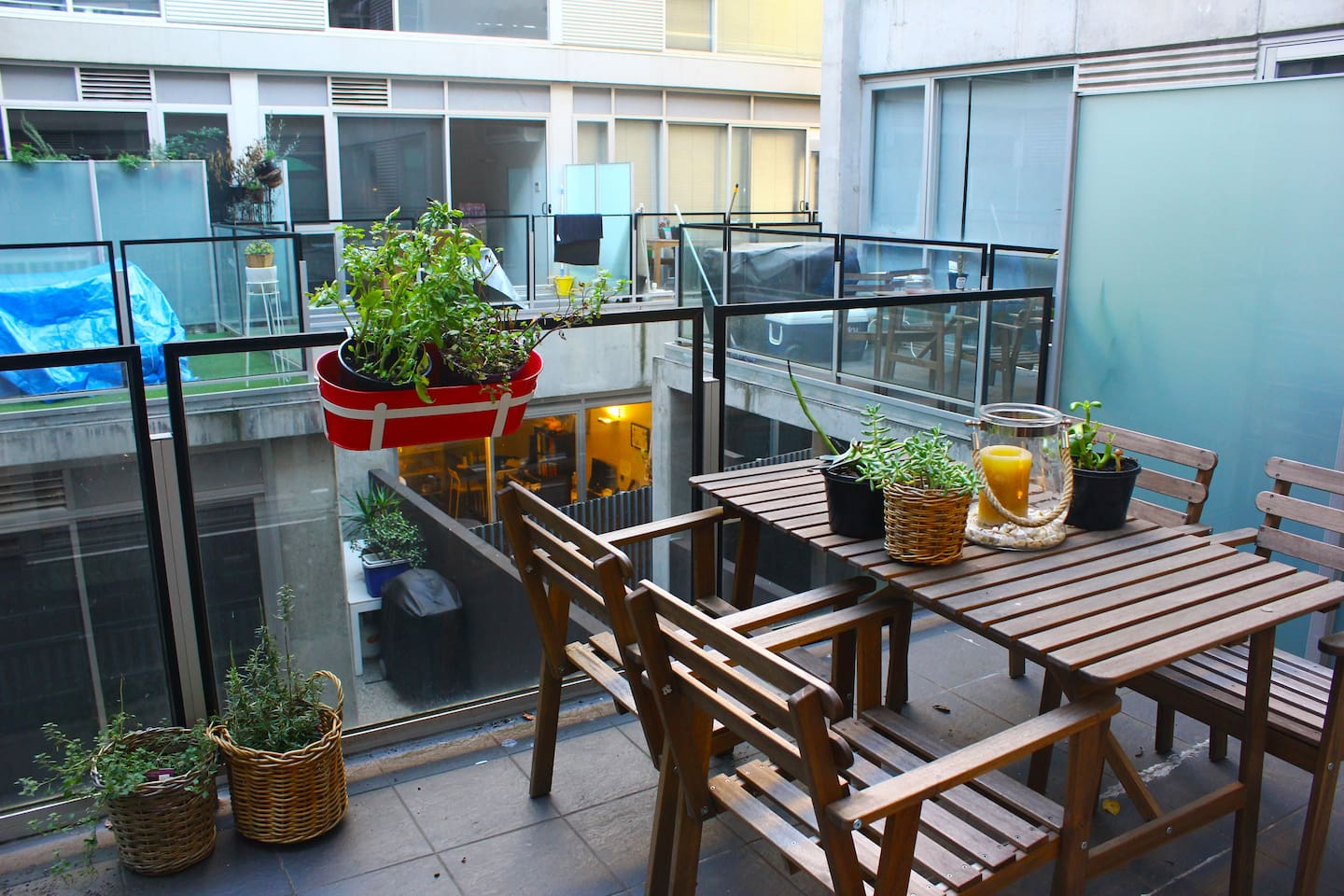 Outdoor balcony area gets great sunlight mid morning.