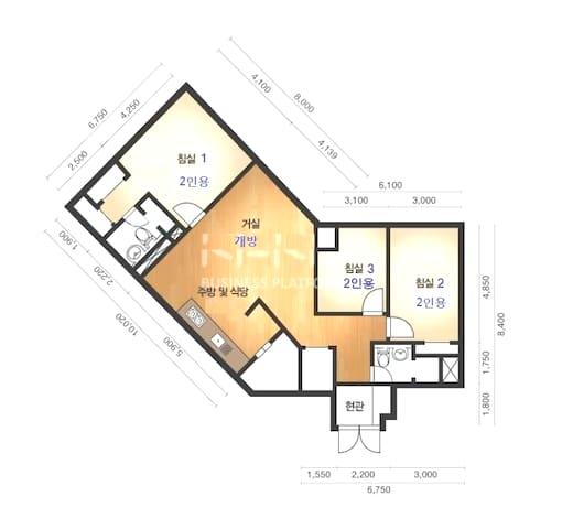 창원 최고의 주상복합 단지 (CECO인접) 42형. 방3,거실 주방,욕실2. 금연해주세요