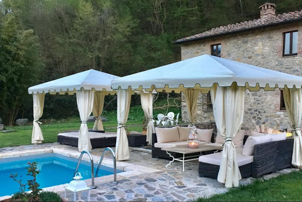 Lounge in the gazebos by the pool