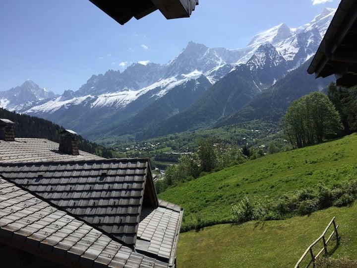 Appart cosy piscine chauffée au pied du Mont-Blanc