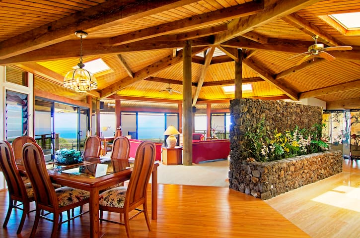 Sea Breeze living area with soaring ceilings, skylights and cupolas.