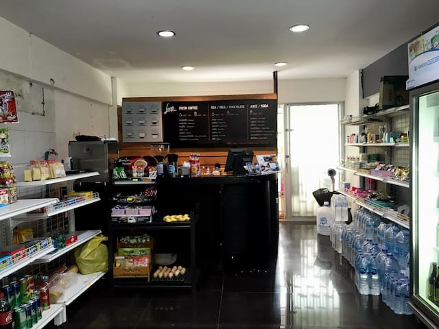 There is a convenience store and small coffee shop just downstairs.