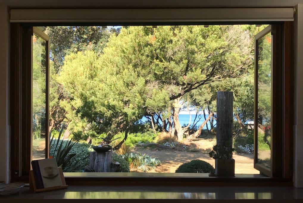view to beach from kitchen window/bar