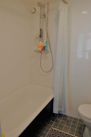 Bathroom with bathtub. There are two separate toilets in the house.