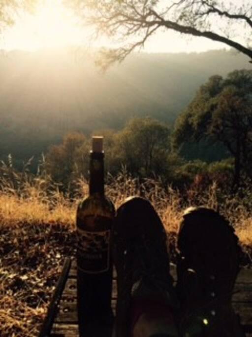 Kicking up my hiking boots. Enjoying wine.