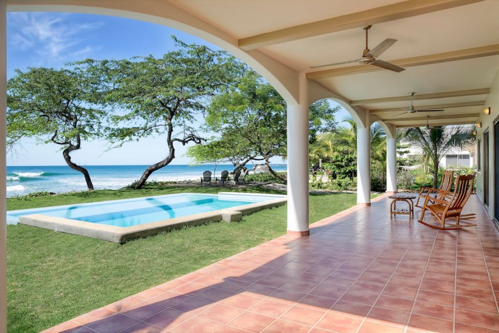 Private oceanfront pool and downstairs covered patio