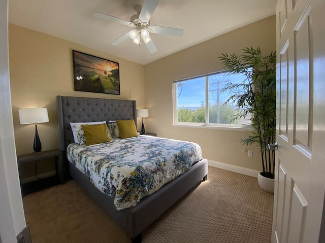 Cozy bedroom with closet and mirror