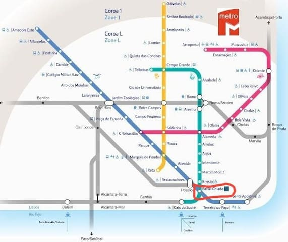 Metro map of Lisbon. The apartment is located right in the city centre. metro stop -Baixa Chiado