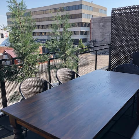 Urban rooftop dining area.