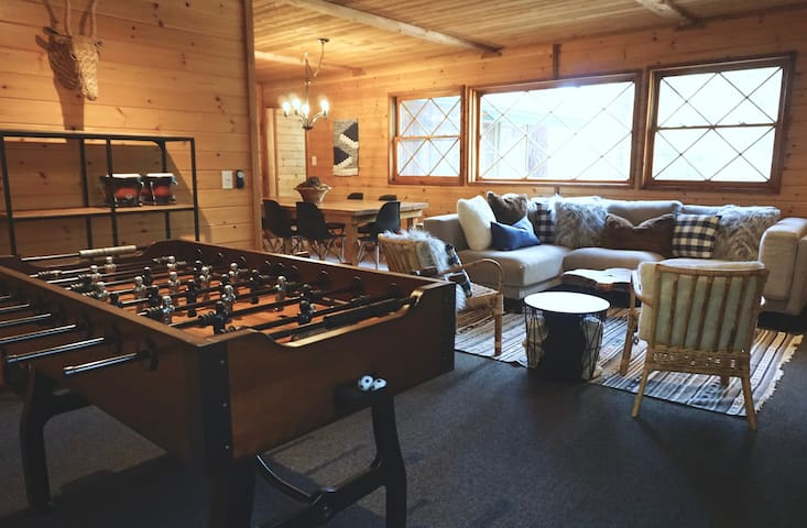 Living Room with Vintage Foosball Table