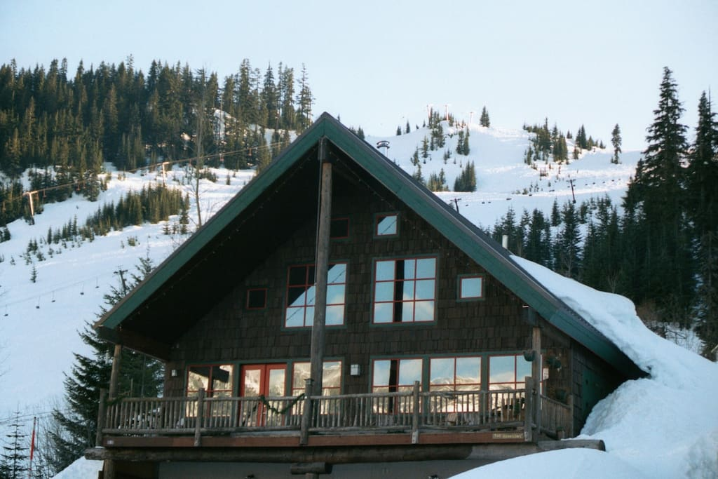 Welcome to the Banksonhaus B&B.  There are 3 rooms available.  Notice the ski slopes behind the house!