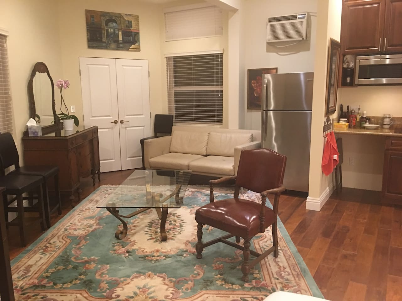 Living room with couch , fridge