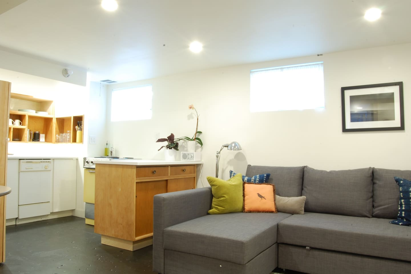 A bright and modern basement - with all the amenities.