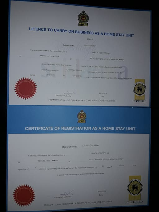 Certificate of Registration with Tourist Board of Sri Lanka as a  Home Stay under Category of DELUXE