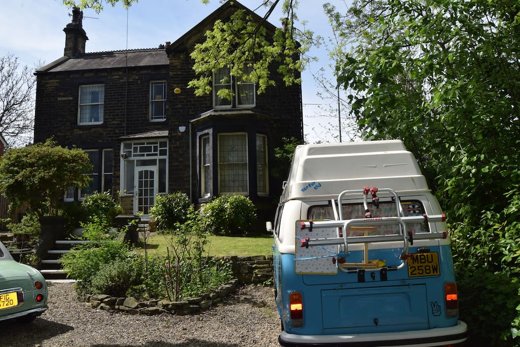 The outside of Shepherd House with our beloved camper van in view too!