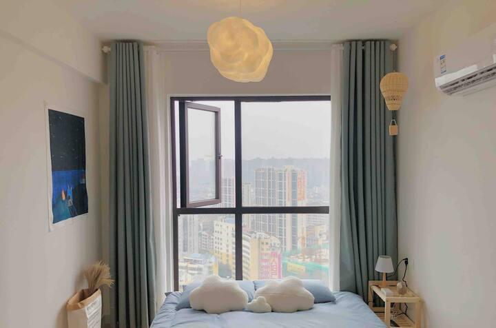 云梦/老西门/步行街/万达广场/火车站/私人影院/落地窗夜景房