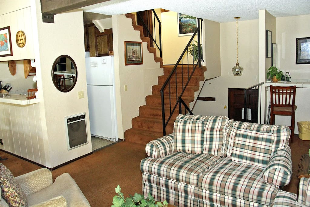 Mammoth Condo Rental Chamonix 21 - Living Room with Stairs to the Loft