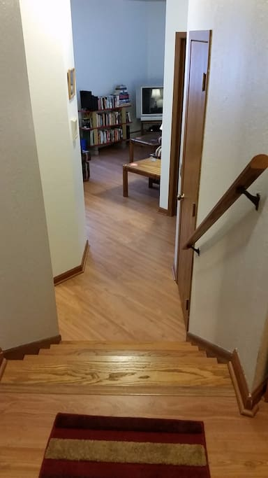 Entry way: 5 stairs down into the condo. The exterior door is a secure entrance.