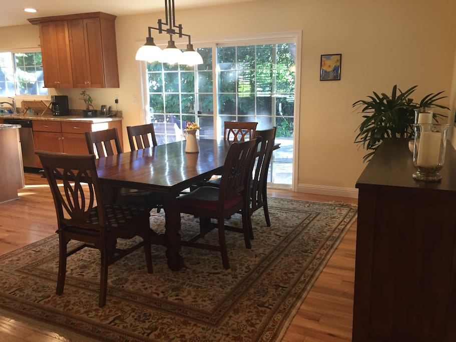 Dining room opens onto kitchen and living room