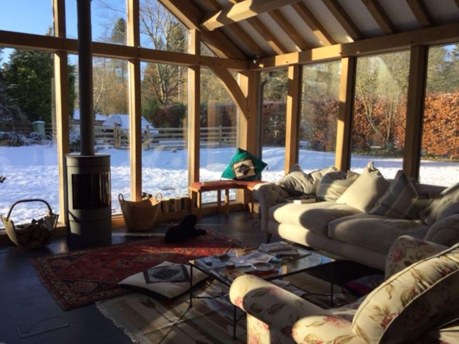 Sitting room in winter