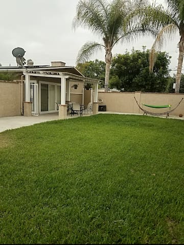 Private front yard with patio