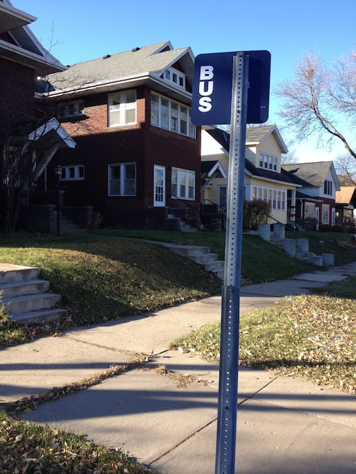 at the corner #3 bus line connecting Minneapolis and St. Paul