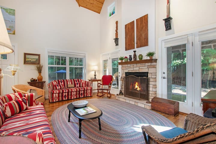 Beautiful living room with soaring ceilings