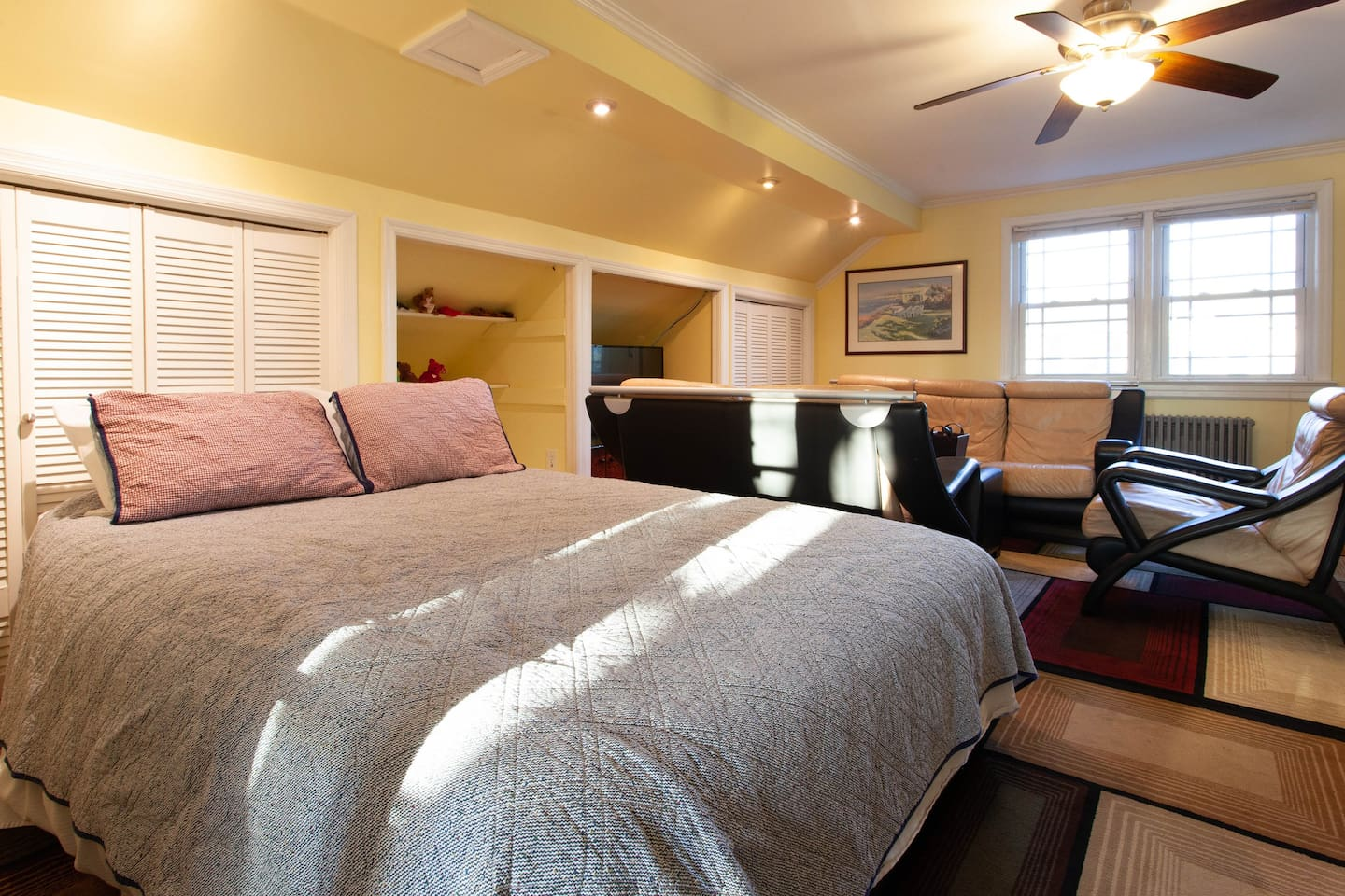 Main living/sleeping room. The bed shown here is an Aerobed which is readied when two guests request a second bed or there are 3-4 guests.  Note the main bed in the next picture for 1 or 2 guests.