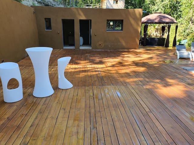 Immense espace extérieur reposant dans la foret